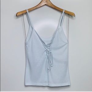 ME TO WE • Light Blue Ribbed Tie Strappy Tank Top